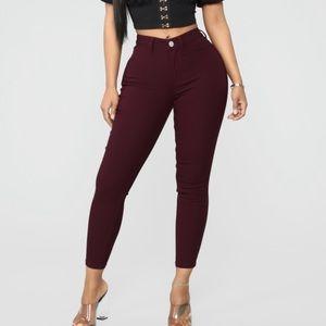 Burgundy Cropped Skinny Jeans
